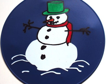 Blue Snowman Round Table Trivet, Table Decor, Kitchen Hot Pad, Silicone Placemat