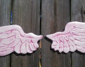 Baby Angel Wings Hot Pink and Baby Pink with Iridescent Sparkle Cherub Wings Wall Hanging 10x5 ea