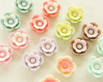 Assorted 8 pairs (16pcs)  Rose Flower Cabochon (13mm) FL376 (((LAST/ no restock)))