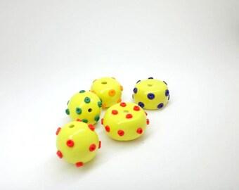 Polka Dot Beads Bold Lemon Yellow Beads with Red Purple Green and Orange Polka Dots Set of  5 Polymer Clay Handmade Beads