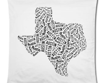 Personalized or Customized 18 x 18 State Texas Throw Pillow Cover Room Decor