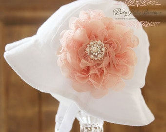 Baby Flower Hat - Baby Easter Bonnet - Sun Hat - (Removeable) Peach Light Coral Flower Clip With White Sun Hat- Fits (Your Pick Size)