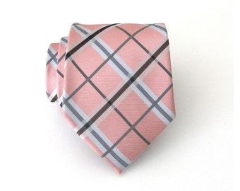 Mens Peach Tie. Peach Gray Black Plaid Mens Tie