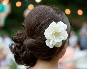 A Little Grace Bridal Ivory Peony Hair Flower, Wedding, Gift, Bridesmaid, Fascinator, Hair, Pearls, Sweet, Simple, Elegant
