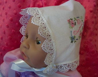 "Keepsake Baby Bonnet White with Embroidered ""J""  # 0053"
