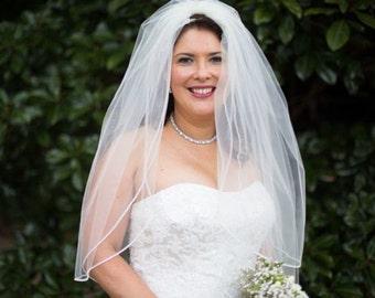 Custom Handmade 1 Tier Elbow  Wedding Veil Bridal With a Rhinestone Edge