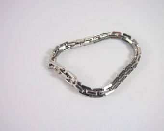 Monet Silver Tone Heavy Square Link Chain Bracelet  Vintage 60s 70s Jewelry