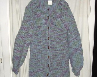 Vintage 80s Hand Made Crocheted Blue Purple Cardigan Sweater Acrylic