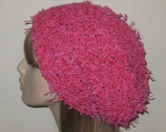 Slouchy Beanie Dread Tam Hat in Raspberry