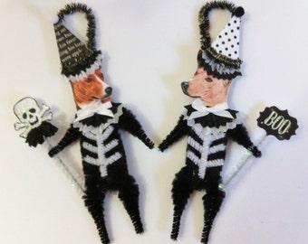 Basenji SKELETON Halloween vintage style CHENILLE ORNAMENTS set of 2