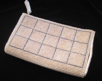 Vintage cream and grey formal beaded clutch purse