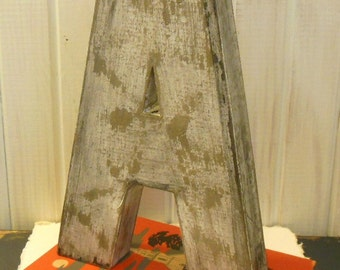 Letter A Twelve Inches Tall Free Standnng Paper Mache    Distressed    with Black Accents