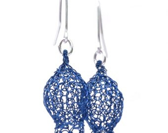 Summer BLUE earrings , Dangle knitted gold earrings , Pomegranate earrings , Wire crochet earrings handmade, Unique Jewellery, gift for her
