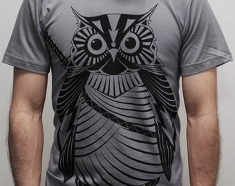 Samurai Owl -  American Apparel Mens t shirt  ( Owl shirt )
