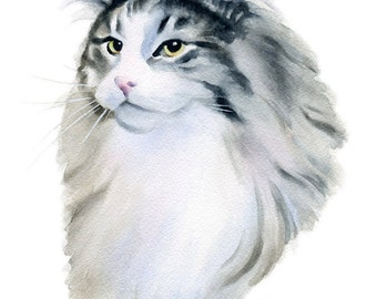 NORWEGIAN FOREST CAT Art Print Signed by Watercolor Artist D J Rogers