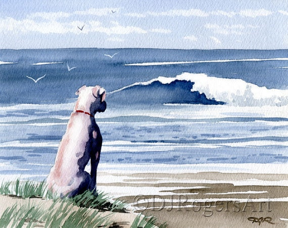 """WHITE BOXER Art Print """"White Boxer At The Beach"""" Signed by Watercolor Artist DJ Rogers"""