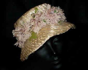 Vintage 60s Straw Floral Brimmed Cloche Hat