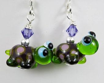 SALE - Turtle Lampwork Bead Earrings - green, purple