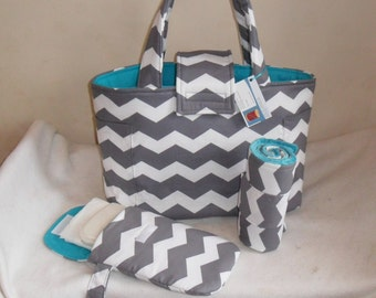 Large Gray Chevron Diaper Bag Set with Changing Mat and Diaper Clutch