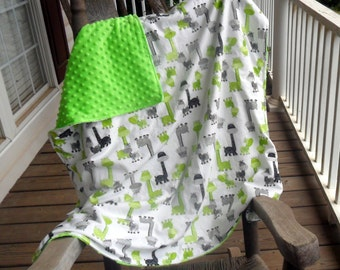 Large Giraffes and Lime Green Minky Dot Blanket MUST SEE