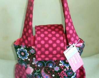 Small Bird Song and Fushia Dot Toddler Short Trip Diaper Bag