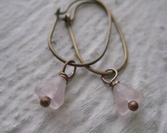 Pink Poppy Earrings, Vintage Flower Beads, Brass Hoops, Copper