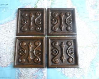 SALE! 4 ornate vintage wood look embellishment squares for decor/projects SET #2