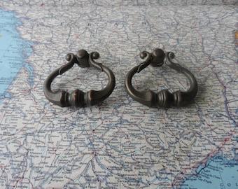SALE! 2 vintage curvy brass metal pull handles
