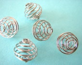 20 Round Iron Platinum Spacer Beads Bead Cage 14mm x 15mm Bracelet Pendant Marble