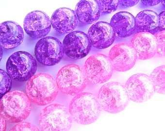 20  14mm Pink Purple Blue Green Crackled Glass Marbles  Cracked Beads with holes Earrings Bracelet
