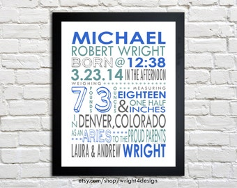 Birth Stats, Boy or Girl, Typography birth announcement, Personalized nursery decor, Art print - CUSTOM COLORS - 8.5x11 print