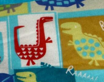 Flannel Blue Dinosaur Pillowcase