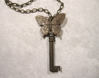 Butterfly Necklace, Skeleton Key Necklace, Key Necklace, Butterflies, Noir, Rustic Key, Upcycled Key Necklace, Vintage Key, Bug Necklace