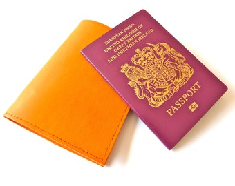 Leather Passport Holder, Bright Orange, Personalised, Engraved