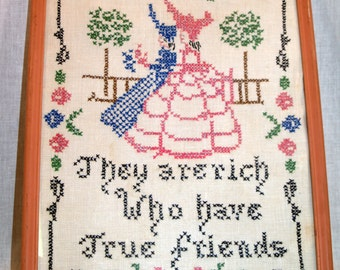 Vintage Cross Stitch Picture in Pink Frame They Are Rich Who Have True Friends