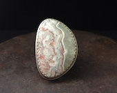 balance.  crazy lace agate ring