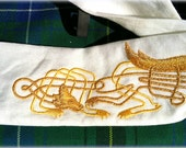 Celtic Wedding Handfasting Cloth - Celtic Wolf on Linen