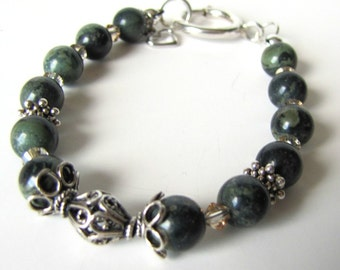 Kambaba Jasper Bracelet, Gemstone Bracelet, Beaded Bracelet,  Jasper Bracelet,  Size 7.5 Sterling Silver  huge Spring ring clasp Item  #1017