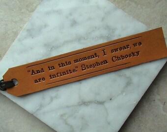 Custom - Favourite Quote Long text - Leather Bookmark with Latigo Suede Tassel