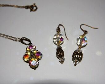 Vintage 1920s Czech Rainbow Crystal Pendant And Earrings