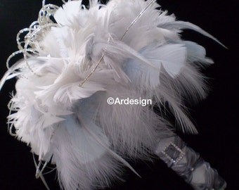 WHISPER COUTURE Bridal Feather Bouquet RHINESTONES