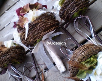 LOVE NEST Wedding Bouquet   With Feather Accents