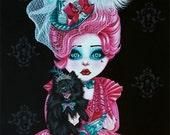 Pomeranian acrylic Painting Pink Lady Lilly  Pocket Full of Posiez