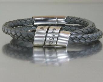 Men's Jewelry - Leather Cuff Bracelet CUSTOM Stamped message - anniversary  wedding gift - latitude longitude - EcoFriendly Designer Quality