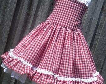Made to Order Custom Boutique Red Gingham Dress Disney Western Hoop Dee Doo Girl 2 3 4  5 6 7 8