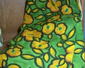 Vintage Fabric  Bold Yellow Floral Print 7 Yards by 54 inches