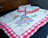 Vintage Hand Embroidered South of the Border Tablecloth 36 by 36 Inch Cinco De Mayo