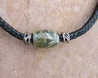 Forest life bead choker with sterling silver findings