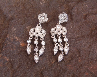 Vintage Chandelier Silver Rhinestone Earrings