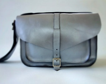 Free Shipping! Silver Leather Satchel